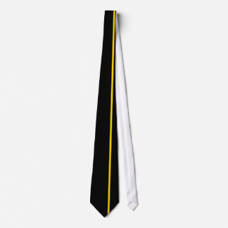 Gold Thin Vertical Line on Black Offset Right Neck Tie
