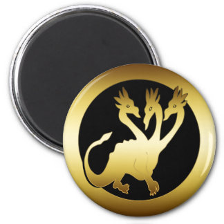 GOLD THREE HEADED DRAGON MAGNET