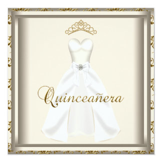 Gold Tiara Party Dress Gold Quinceanera Invitation