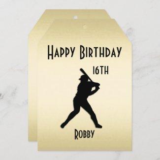 Gold Ticket Baseball Birthday Party Invitation