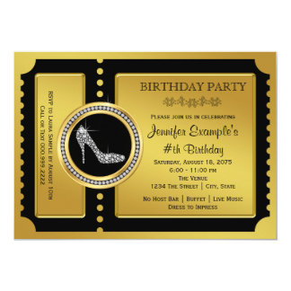 Gold Ticket High Heel Shoe Birthday Party Card
