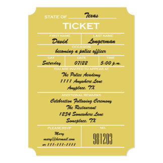 Gold Ticket Police Graduation Invitations