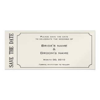 Gold Ticket Save the Date Invitations