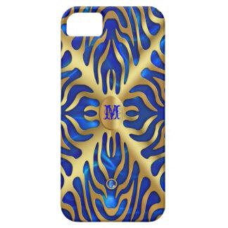 Gold Tiger Blue Satin iPhone Case