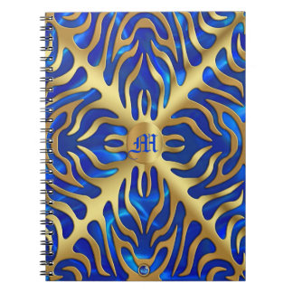 Gold Tiger Blue Satin Lush Gold Notebook