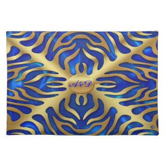 Gold Tiger  Blue Satine Lush Placemats