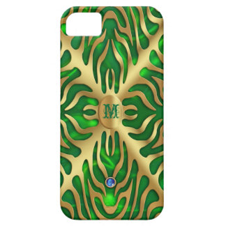 Gold Tiger Green Satin iPhone Case