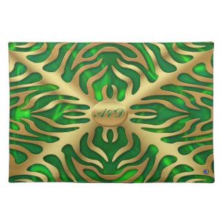 Gold Tiger Green Satine Lush Placemats