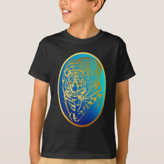 Gold Tiger In The Grass Oval Shirt