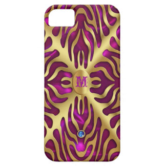 Gold Tiger Magenta Satin iPhone Case