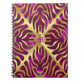 Gold  Tiger Magenta Satin Lush Gold Notebook
