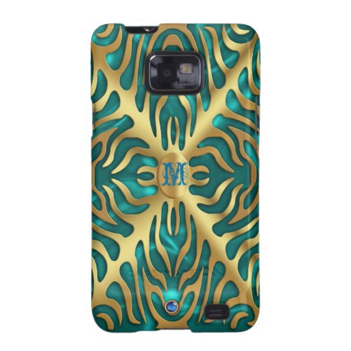 Gold Tiger On Turquoise Satin Galaxy Case Samsung Galaxy S Cover