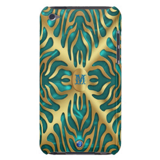 Gold Tiger on Turquoise Satin iPod Case