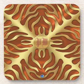 Gold Tiger Orange Satin Lush Coaster
