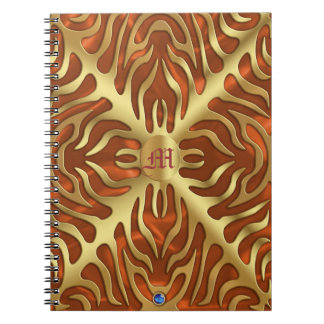 Gold  Tiger Orange Satin Lush Gold Notebook