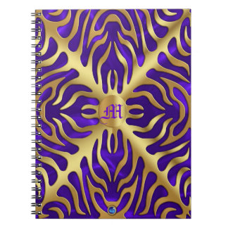 Gold Tiger Purple Satin Lush Gold Notebook