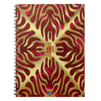 Gold Tiger Red Satin Lush Gold Notebook