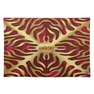 Gold Tiger Red Satine Lush Placemats