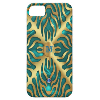 Gold Tiger Turquoise Satin iPhone Case
