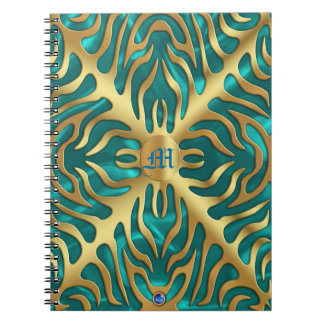 Gold Tiger Turquoise Satin Lush Gold Notebook