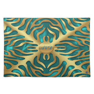 Gold Tiger Turquoise Satine Lush Placemats