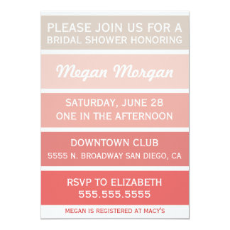 Gold to Coral Bridal Shower Invitation
