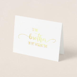 Gold To My Brother Wedding Day Thank You Card