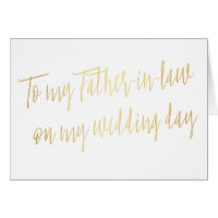 "Gold ""To my father-in-law on my wedding day"" Card"