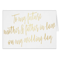 """Gold """"To my future mother and father-in-law"""""""