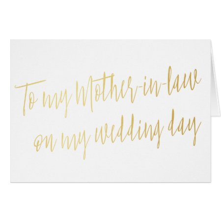 "Gold ""To my mother-in-law on my wedding day"" Card"