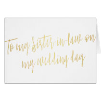 """Gold """"To my sister-in-law on my wedding day"""""""