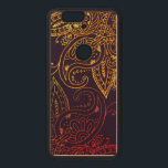 """Gold to Red Mehndi on Purple Wood Nexus 6P Case<br><div class=""""desc"""">Mehndi artwork design fading from gold to red over a dark purple background on genuine natural wood.</div>"""
