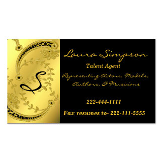 Gold Tone and Black Monogram business card