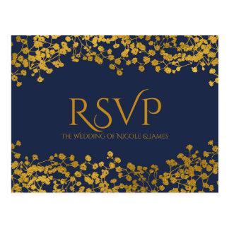 Gold Tone Baby's Breath Blue Elegant Floral RSVP Postcard
