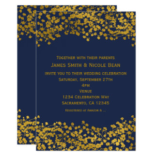 Gold Tone Baby's Breath Blue Elegant Invitations
