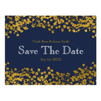 Gold Tone Baby's Breath Blue Save the Date Postcard