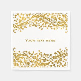Gold Tone Baby's Breath White Elegant Floral Paper Napkin