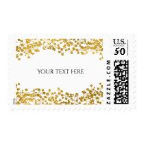 Gold Tone Baby's Breath White Elegant Invitation Postage