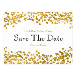 Gold Tone Baby's Breath White Save the Date Postcard