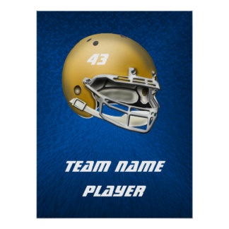 Gold Tone Football Helmet on Blue Background Poster