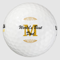 Gold Tone Monogram Scrollwork Worlds Best Dad Golf Balls
