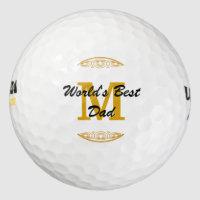 Gold Tone Monogram Scrollwork Worlds Best Dad Golf Balls