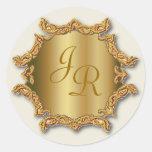 Gold Tone Monogram Sticker Wedding Stickers