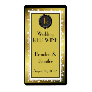 Gold Tone Monogram Wedding Mini Wine Labels