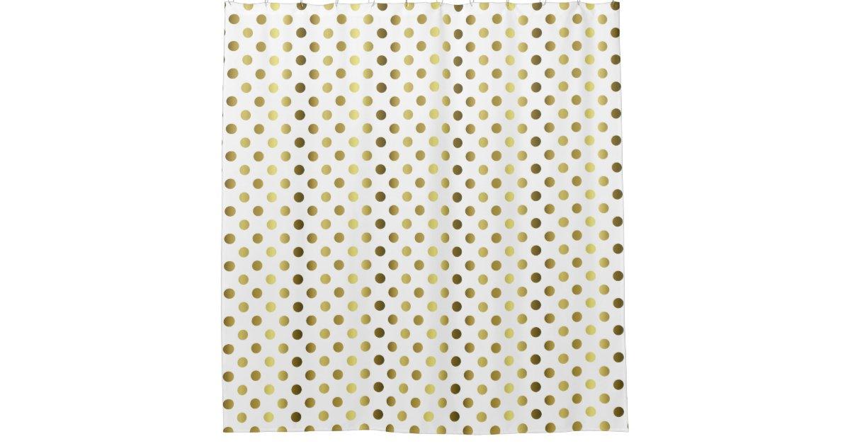 gold tone polka dot shower curtain zazzle. Black Bedroom Furniture Sets. Home Design Ideas
