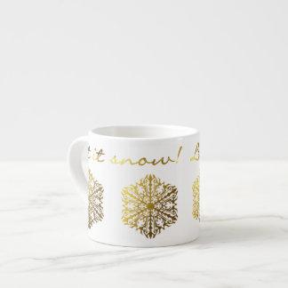 "Gold Tone Snowflake ""Let it Snow!"" Espresso Cup"