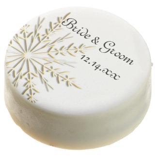 Gold Tone Snowflake on White Winter Wedding Chocolate Covered Oreo