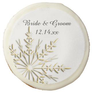 Gold Tone Snowflake Winter Wedding Favor Sugar Cookie