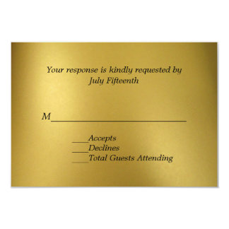 Gold Tone Wedding RSVP Card