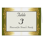 Gold Tone Wedding Table Number Card